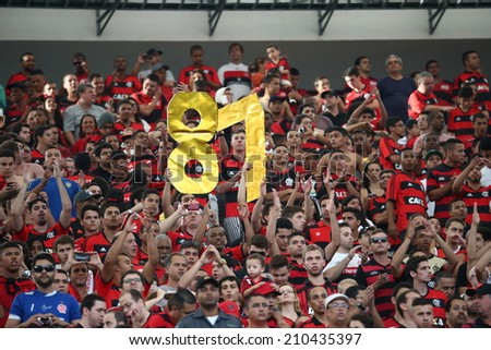 RIO DE JANEIRO, BRAZIL - April 6, 2014: Soccer match between flamengo and sport club recife  at Maracana during the national  Championship. - stock photo