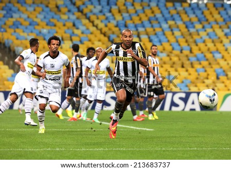 RIO DE JANEIRO, BRAZIL - August 27, 2014: Soccer match between Botafogo and Cear�¡ at Maracana Stadium during the 2014 Brazilian Championship. - stock photo
