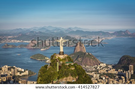 RIO DE JANEIRO, BRAZIL - CIRCA FEBRUARY 2016: Aerial view of Christ The Reedemer and Botafogo Bay from high angle. - stock photo