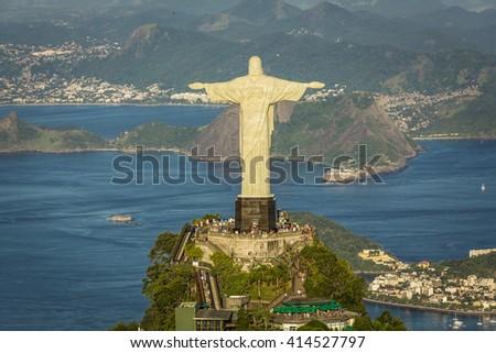 RIO DE JANEIRO, BRAZIL - CIRCA FEBRUARY 2016: Aerial view of Christ The Reedemer Statue and Botafogo Bay. - stock photo