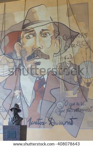 RIO DE JANEIRO, BRAZIL - CIRCA JAN 2016: Statu of Santos Dumont at Airport in Rio de Janeiro, Brazil. - stock photo