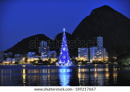 Rio de Janeiro, Brazil-December 6, 2012: Christmas Tree on the water of Lagoon, the annual event for the city of Rio de Janeiro, Brazil - stock photo