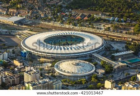 RIO DE JANEIRO, BRAZIL - FEBRUARY  2016: Aerial photo of Maracana Stadium in  Rio De Janeiro. Opening and closing of 2016 Olympic Games will be held at Maracana Stadium. - stock photo