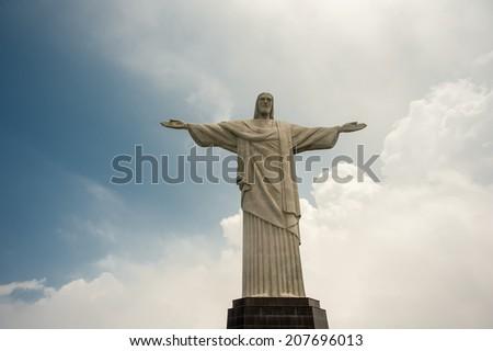 RIO DE JANEIRO, BRAZIL - FEBRUARY 24: Famous statue of the Christ the Redeemer,  February 24, 2013 in Rio de Janeiro, Brazil - stock photo