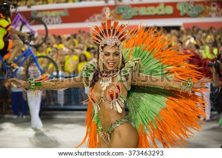 RIO DE JANEIRO, Brazil - february 07, 2016: samba school parade Uniao da Ilha during the 2016 carnival in Rio de Janeiro, the Sambodromo.  - stock photo