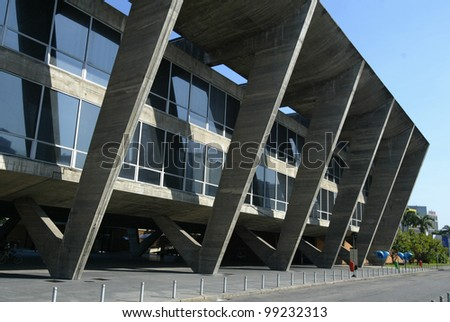 RIO DE JANEIRO, BRAZIL - JULY 17:  An exterior of the Museum of Modern Art is shown July 17, 2005 in Rio de Janeiro, Brazil. Founded in 1948, the museum was designed by architect Affonso Reidy. - stock photo