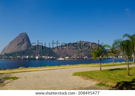 Rio de Janeiro, Brazil - July 21, 2014: Aterro do Flamengo with the Sugarloaf Mountain in the background  - stock photo