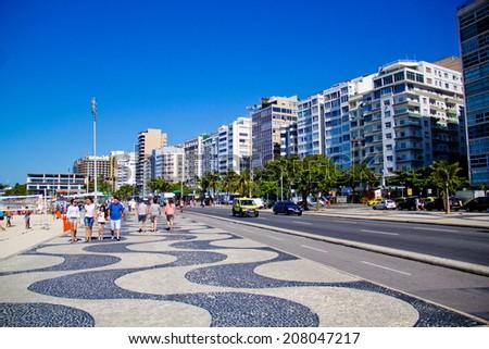 RIO DE JANEIRO, BRAZIL - July 22, 2014: Copacabana beach, Rio de Janeiro city - stock photo