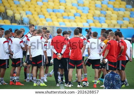 Rio de Janeiro, BRAZIL -July 3, 2014: Germany national football team practicing at Maracana training center in preparation for the 2014 World Cup soccer tournament. No Use in Brazil - stock photo