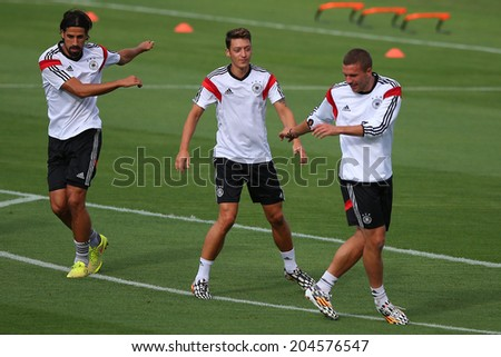 RIO DE JANEIRO, BRAZIL - JULY 12, 2014: Players of Germany during training session in Sao Januario stadium a day ahead of the World Cup Final. NO USE IN BRAZIL. - stock photo