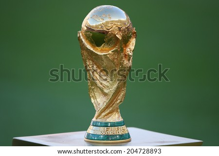 RIO DE JANEIRO, BRAZIL - July 13, 2014: The World Cup showcased at the closing ceremony of the 2014 FIFA World Cup at Maracana Stadium. NO USE IN BRAZIL. - stock photo