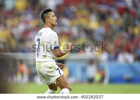 RIO DE JANEIRO, BRAZIL - June 18, 2014: Alexis SANCHEZ of Chile during the FIFA 2014 World Cup. Spain is facing Chile in the Group B at Maracana Stadium - stock photo