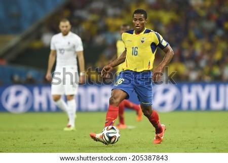 RIO DE JANEIRO, BRAZIL - June 25, 2014: Antonio VALENCIA of Ecuador   during the World Cup Group E game between Ecuador and France at Maracana Stadium.  - stock photo