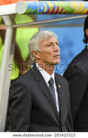 RIO DE JANEIRO, BRAZIL - June 28, 2014: Colombia coach Jose Pekerman during the FIFA 2014 World Cup game in the Round of 16 at Maracana Stadium.  - stock photo