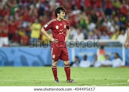 RIO DE JANEIRO, BRAZIL - June 18, 2014: David SILVA of Spain during the FIFA 2014 World Cup. Spain is facing Chile in the Group B at Maracana Stadium - stock photo