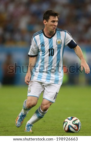 RIO DE JANEIRO, BRAZIL - June 15, 2014: Messi of Argentina on the ball during the 2014 World Cup Group F game between Argentina and Bosnia at Maracana Stadium. No Use in Brazil. - stock photo