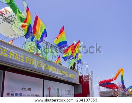 RIO DE JANEIRO, BRAZIL November 16, 2014 - Car detail allegorical preparation backstage of the 19th Gay Parade - diversity - LGBT in Atlantica Avenue - Copacabana Beach - Rio de Janeiro - stock photo