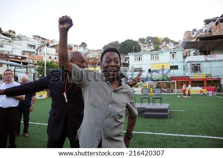 Rio de Janeiro-Brazil September 10, 2014 - Pele during the inauguration of the football field, Mineira community in the central zone of Rio de Janeiro - stock photo