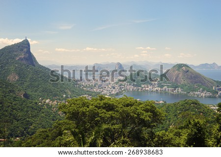 Rio de Janeiro Brazil view of the dramatic natural skyline from the surrounding jungle at the Vista Chinesa - stock photo