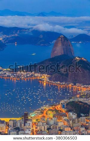 Rio De Janeiro city at twilight in Brazil - stock photo