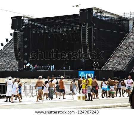 RIO DE JANEIRO - DEC 31, 2012 Main stage concert preparations for New Years Eve celebrations  at Copacabana beach on December 31, 2012 - stock photo