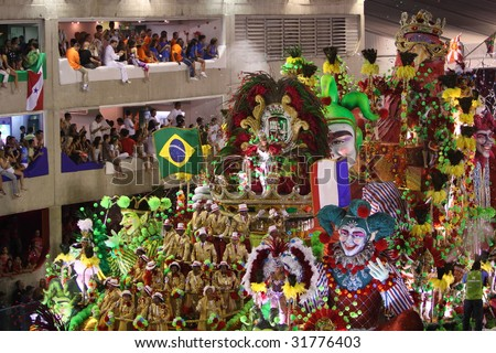RIO DE JANEIRO - FEBRUARY 22: Brazilians celebrated the Rio Carnival in Sambadome February 22, 2009 in Rio de Janeiro, Brazil. The Rio Carnival is the biggest carnival in the world. - stock photo