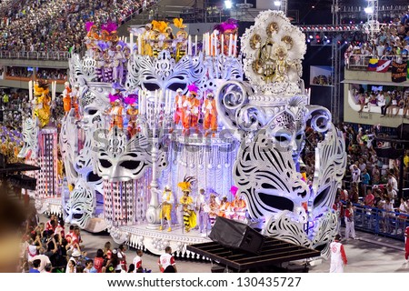 RIO DE JANEIRO - FEBRUARY 11: Show with decorations on carnival Sambodromo in Rio de Janeiro February 11, 2013, Brazil. The Rio Carnival is biggest carnival in world. - stock photo