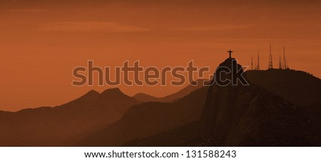 Rio de Janeiro Hills at Sunrise - stock photo