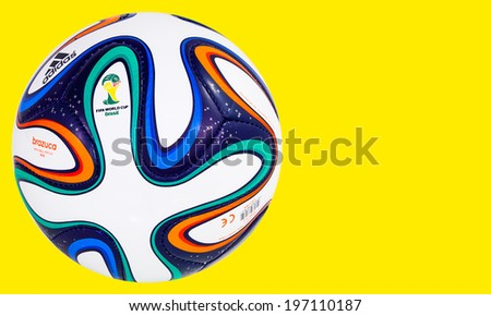 RIO DE JANEIRO - JUNE 06, 2014: Adidas Brazuca World Cup 2014 Football, The Official FIFA Matchball for the 2014 World Cup - stock photo