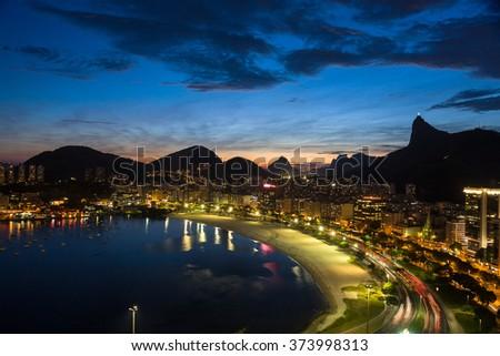 Rio de Janeiro landscape at dusk. - stock photo