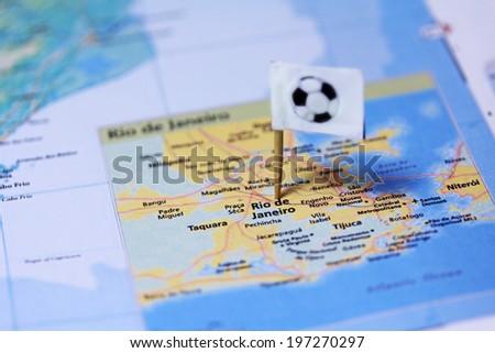 Rio de Janeiro map with football ball flag - stock photo