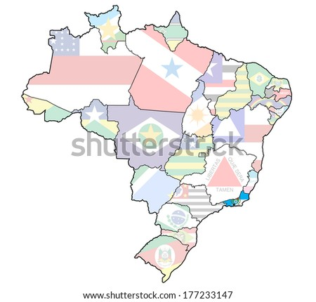 rio de janeiro on administration map of brazil with flags - stock photo