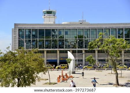RIO DE JANEIRO, RJ - 28.03.2016: Aeroporto Santos Dumond - Fachada do termina de desembarque de passageiro with air traffic control tower. (Foto: Celso Pupo / Fotoarena) - stock photo