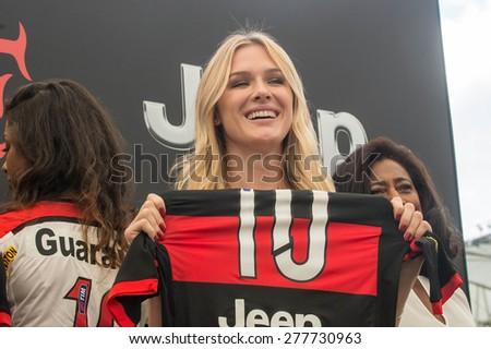 RIO DE JANEIRO, RJ - BRAZIL, MAY, 13, 2015 - Fiorella Mattheis,  the famous Brazilian Actress, during Jeep and Flamengo Club announced financial partnership at an event at Maracanâ?¹ Stadium - stock photo