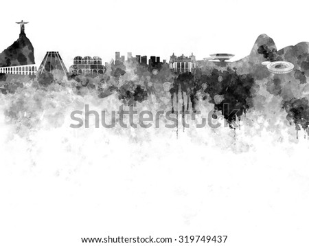 Rio de Janeiro skyline in black watercolor on white background - stock photo