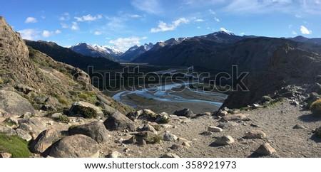 Rio de los Vueltos near El Chalten, Argentina - stock photo