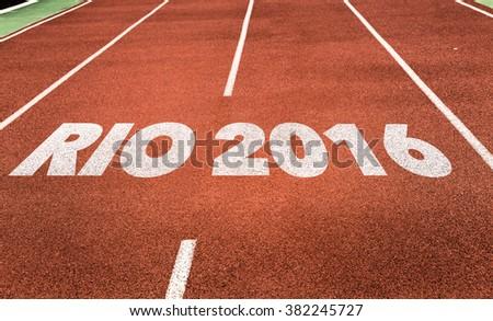 Rio 2016 written on running track - stock photo