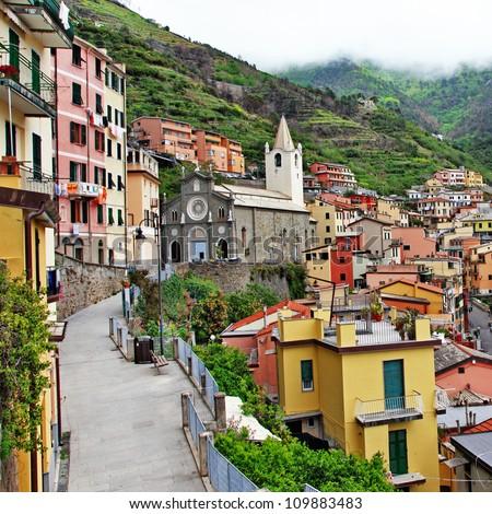 Riomaggiore - beautiful mountain village, Cinque terre , italy - stock photo