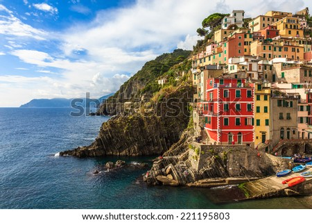 Riomaggiore in Cinque Terre National Park in Liguria, Italy - stock photo