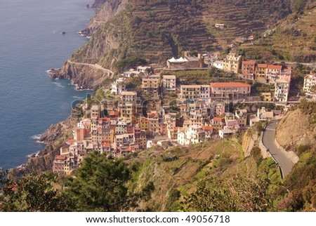 Riomaggiore in the national park Cinque Terre in Italy - stock photo