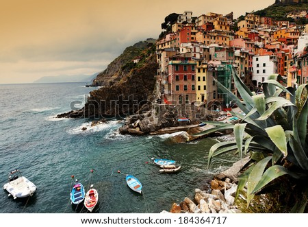 Riomaggiore Village, Cinque Terre, Italy - stock photo