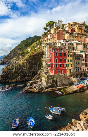Riomaggiore village in Cinque Terre National Park in Liguria, Italy - stock photo