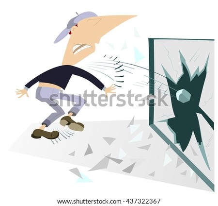 Riots. Angry man breaks the window by stone  - stock photo