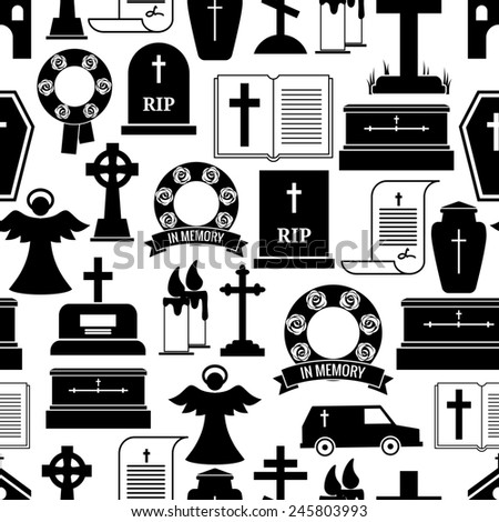 RIP and funeral background pattern. Black silhouettes of tombstones, crosses, candles, urns on a white background - stock photo