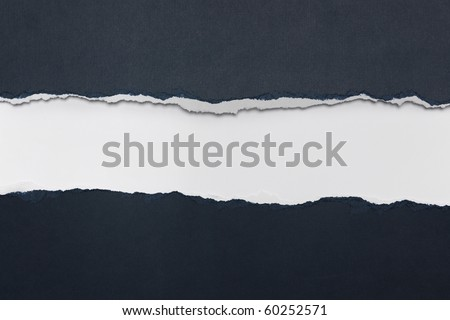 Rip Blue Paper and white background with space for text - stock photo