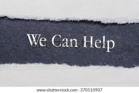 Rip Blue Paper and white background with we can help text - stock photo