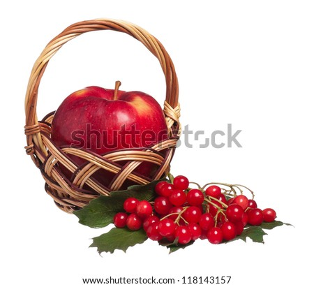 Ripe apple with arrow wood isolated on white background - stock photo