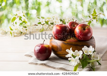 Ripe apples in wooden bowl. Healthy food. Healthy eating. Vegetarian food. Healthy eating concept. Fresh fruits. Fresh apples. - stock photo