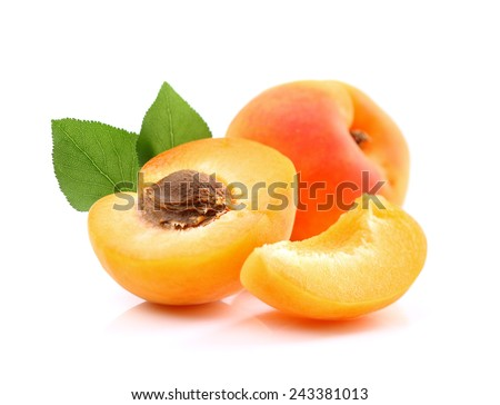 Ripe apricots with slice - stock photo