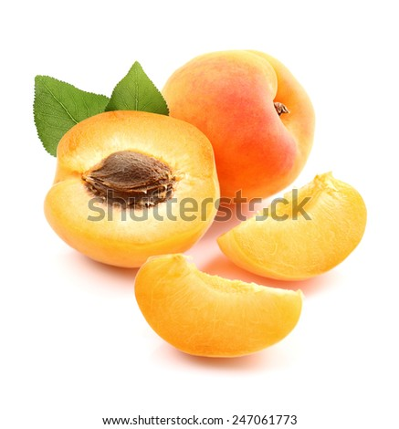 Ripe apricots with slices - stock photo